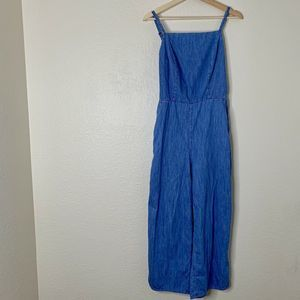 Old Navy Chambray Jumpsuit Wide Leg Blue M Tall